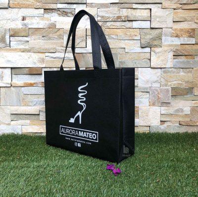 bolsa tela reutilizable TST personalizada termosellada mate color negro 35x10x30