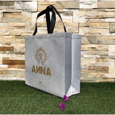 bolsa tela TST personalizada laminada metalizada termosellada purpurina plata reutilizable