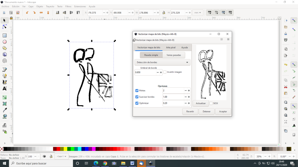 Inkscape vectorizar gráfico 2D
